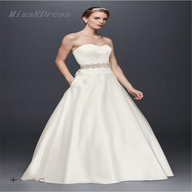 f88188cecb 2017 Satin Sweetheart Ball Gown Wedding Dresses with Button detail Back  WG3828 Bridal gowns