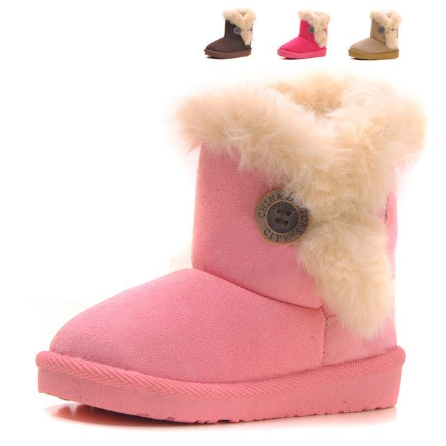 Moda niño niña shoes botines de invierno bebé botas de nieve para niños
