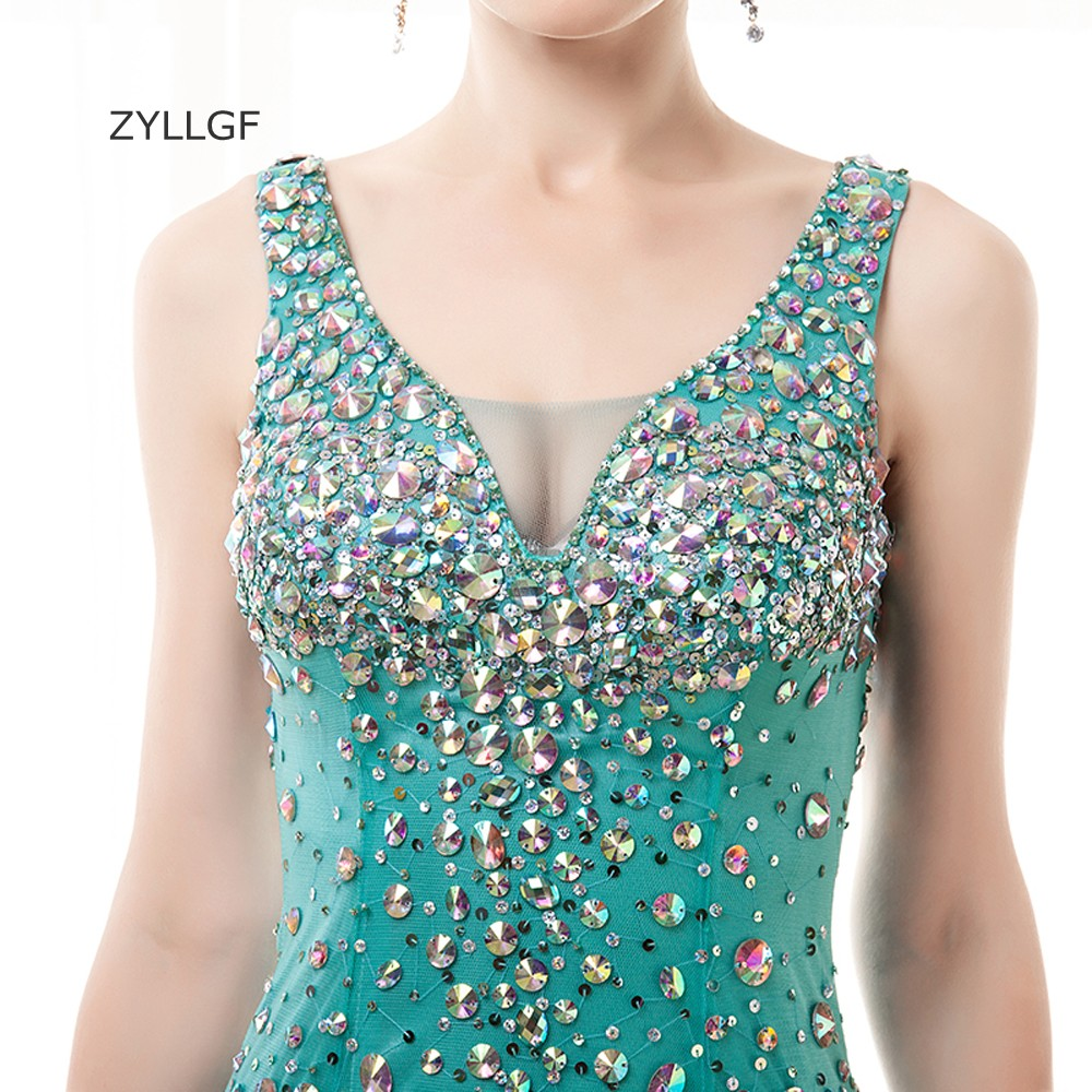 ZYLLGF Sparkle Crystal Beaded Evening Gown Mermaid V Neck Sheer Back ...