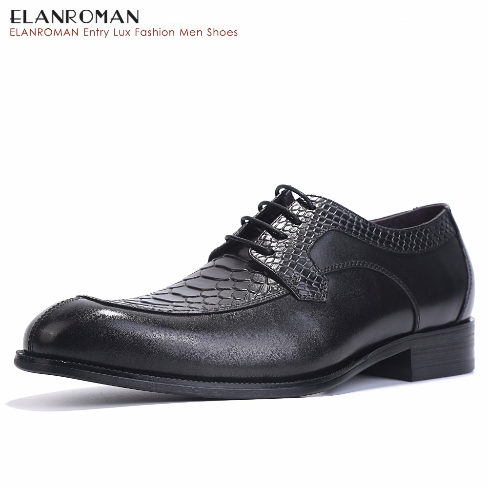 ELANROMAN Men Shoes Height Increase Leather Fashion Business Snakeskin Men Dress Shoes Lace up Message Derby Shoes Black