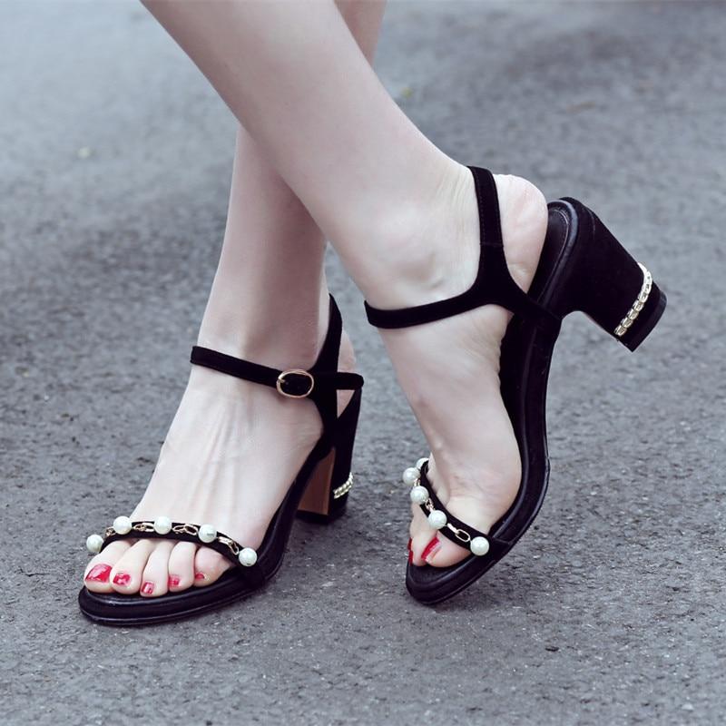 ФОТО Women's Ankle Strap Sandals Open Toe Beading Fashion Summer Shoe Women Genuine Leather Med Heel Comfort Ladies Elegant Sandalias