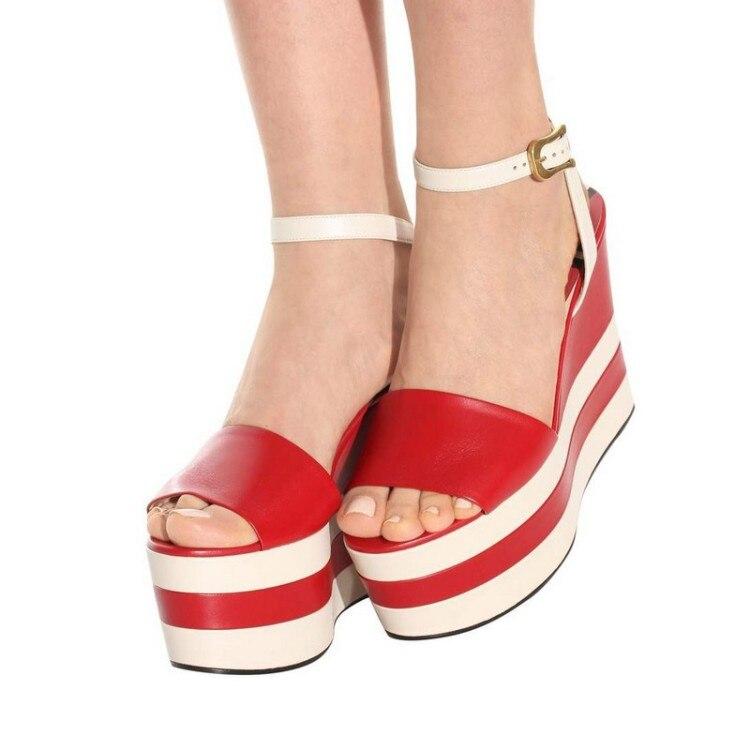 Verano Tacón Zapatos Abierta rojo caqui Negro 2018 Cuñas Mujeres 40 Grande Tamaño Plataforma Alto De Las Cuero Sandalias {zorssar} Genuino Punta Roma Pq7wfvqS