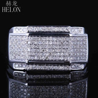 HELON Men's Jewerly Round Cut Natural Diamond Wedding Fine Ring Sterling Silver 925 Engagement Estate Band Ring