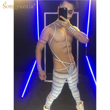 SONGYUEXIA Sexy Men Gogo Stage Jumpsuits Perspective 3D Abdominal Muscles Set Steel Pipe Gigolo Playing Party Dance Show Pants