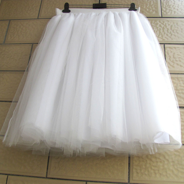 White Tulle Skirt Women Lace chiffon Ball Gown Knee Length Empire Girls Tutu  Plus Size Tulle Skirts 5XL XXXXL Custom 6 Layer c982ebbb40f1