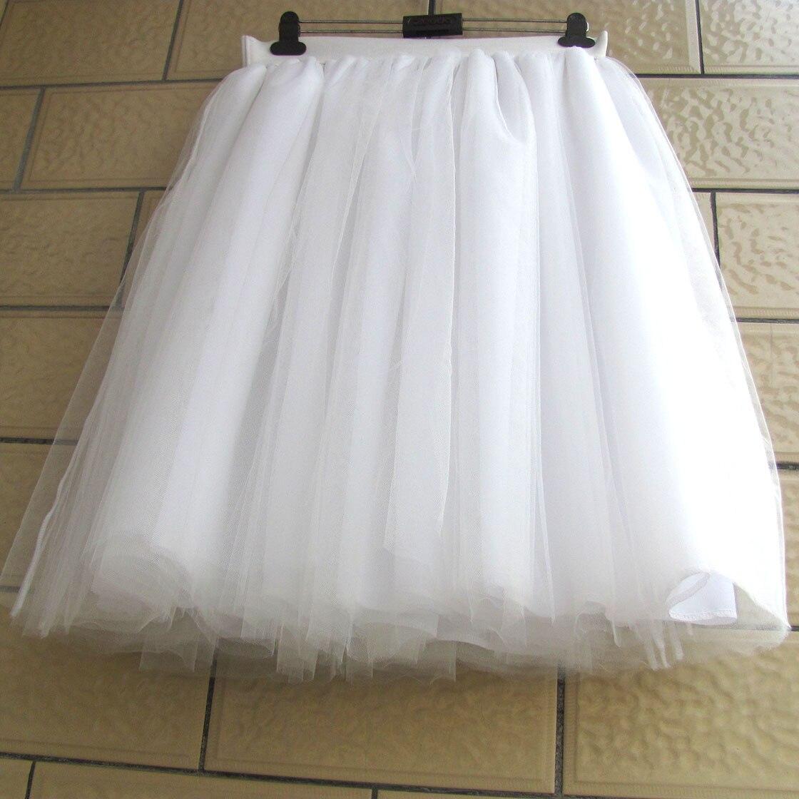 White Tulle Skirt Women Lace chiffon Ball Gown Knee Length Empire Girls Tutu Plus Size Tulle Skirts 5XL XXXXL Custom 6 Layer