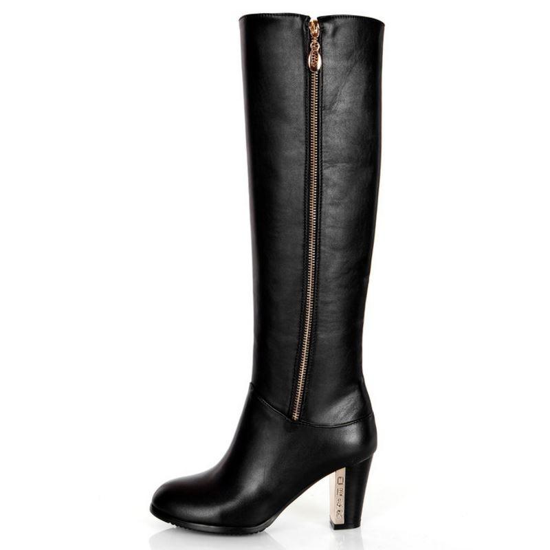 En Bottes Talons Sexy Chaussures Hauts Jojonunu Cuir Noir Taille À Neige La 30 Équitation Genou Plus D'hiver Véritable Zipper 45 Réel Femmes qStYF