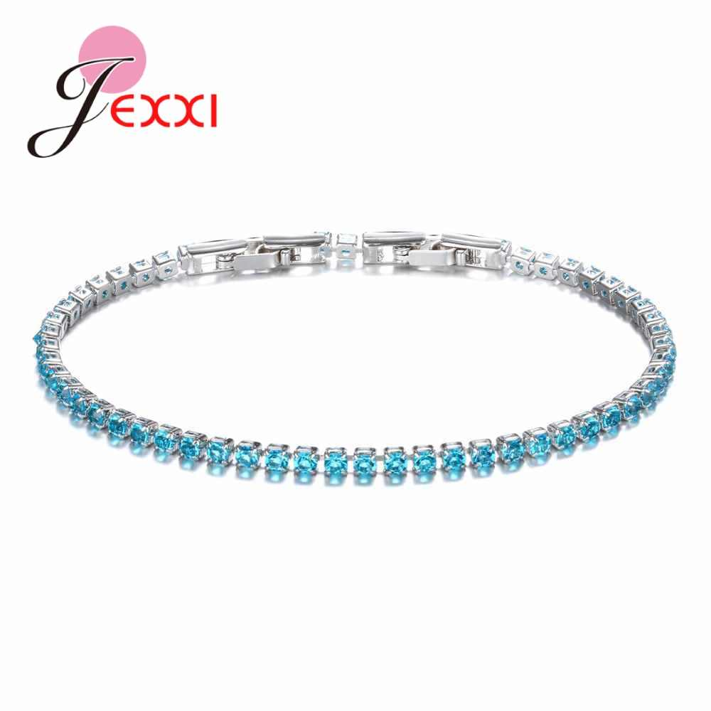 Delicate Fancy 925 Sterling Silver  10 Colors Crystals Bracelets For Ladies Women Wedding Engagement Fashion Accessories