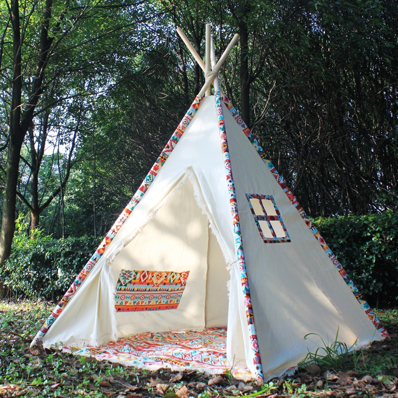 Cotton Canvas Boho Kids Play Teepee Tent with Tassels Fringe Tipi Tent Tee Pee fringe detail sleeve solid tee