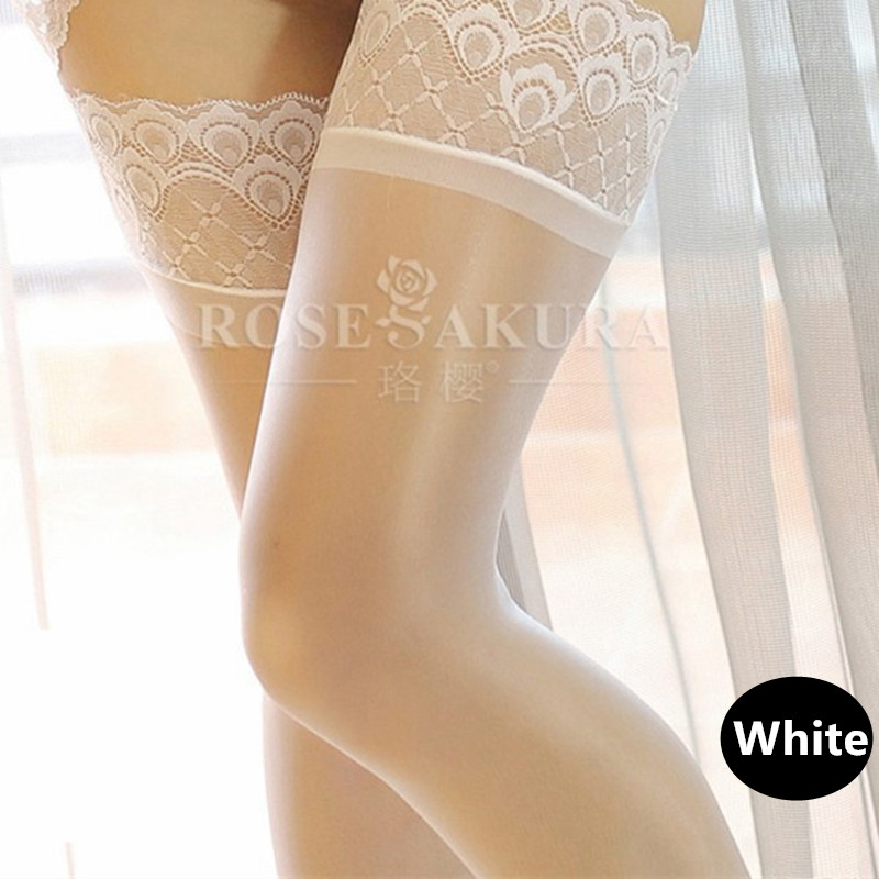 Oil Shine Sexy Stockings Women Thigh High Stockings Peacock Long Lace Top Silicone Anti-skid Over The Knee Socks Medias 0907