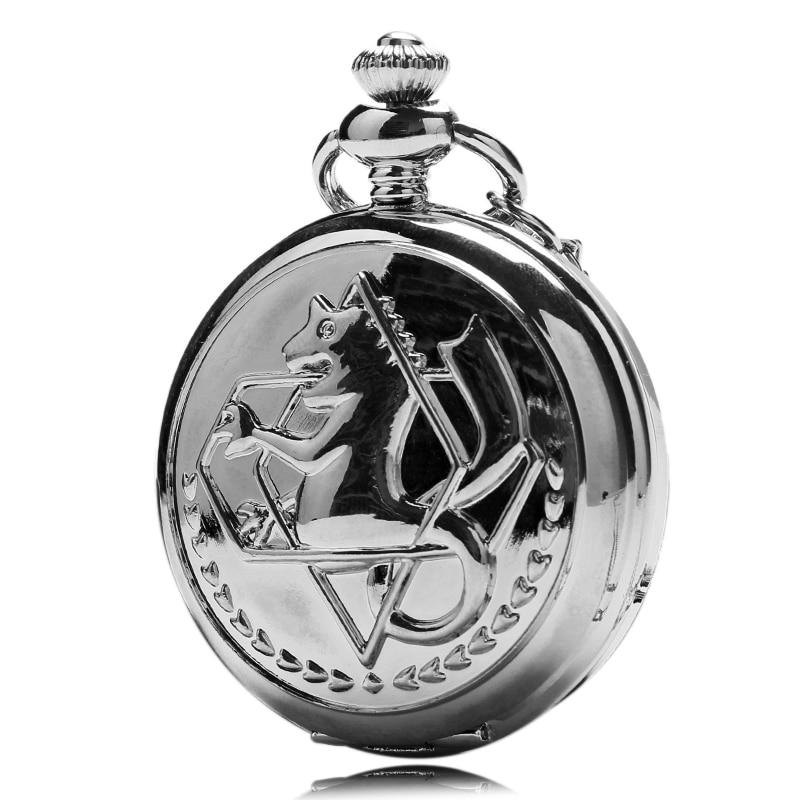 New Silver Tone Fullmetal Alchemist Pocket Watch Cosplay Edward Elric Long Necklace Chain Anime Boys Xmas Gift Men Women Pendant