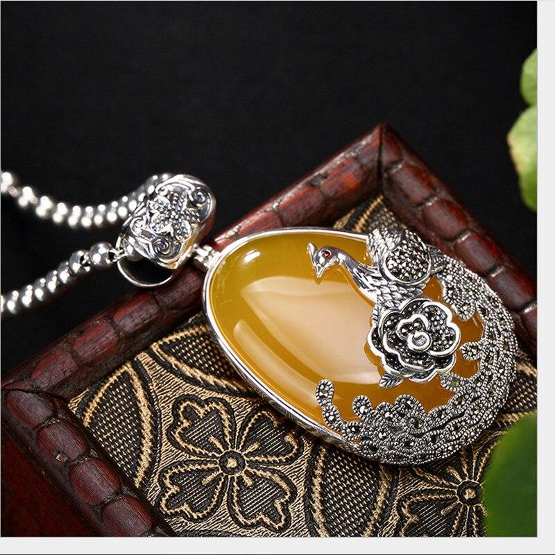 Uglyless réel 925 argent Sterling naturel calcédoine pendentif sans collier femmes rétro Phoenix Bijoux pivoine Marcasite Bijoux - 4