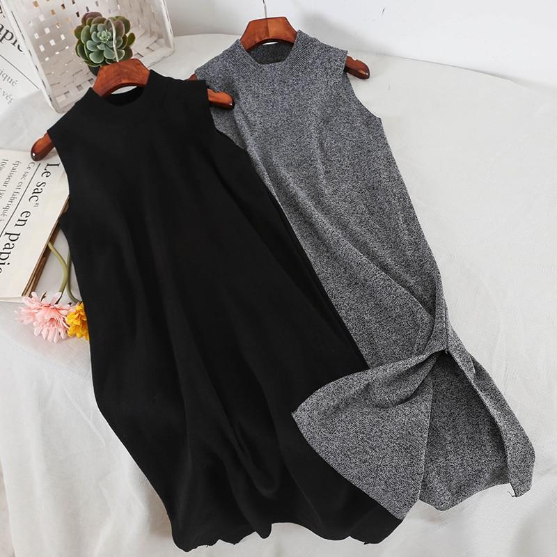 2019 New Fashion Women's Vest Dress Sleeveless Bottoming Midi Versatile Elegant Loose Thin Solid Color Dress 3397