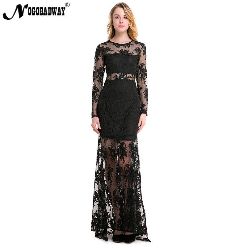 best loved 97b3e bc651 US $18.96 15% di SCONTO|NOGOBADWAY trasparente sexy abito di pizzo organza  lungo bianco nero manica lunga vestiti da partito delle donne di lunghezza  ...