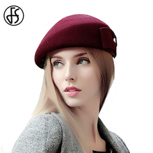 FS lana elegante sombrero de invierno boinas gorras para mujeres Vintage sombreros  negro blanco Bowknot fieltro sombreros boina . b11108d3676