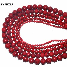 1 Strand / Pack 4 6 8 10 12 MM Dia Red Round-Brilliant Turquoise Beads Natural Stone Beads DIY Bracelet Necklace Making Craft цены