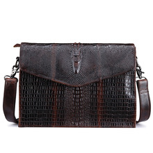 2016 Top Quality Genuine Leather First Layer Cowhide Crocodile Style Women Messenger Shoulder Crossbody Luxury Trend Vintage Bag