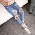 2016 New Fashion Summer Style Women Jeans ripped Holes Harem Pants Jeans Slim vintage boyfriend jeans for women
