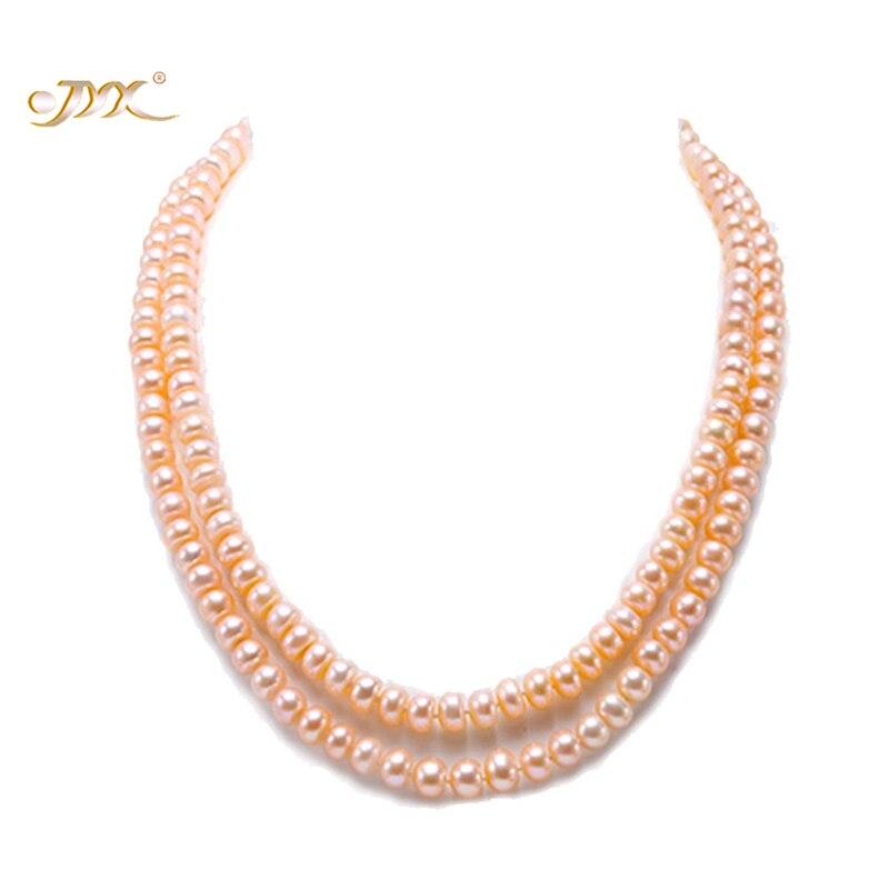 JYX Classic Double-row Near Round White Pink Collar de perlas - Joyas - foto 2