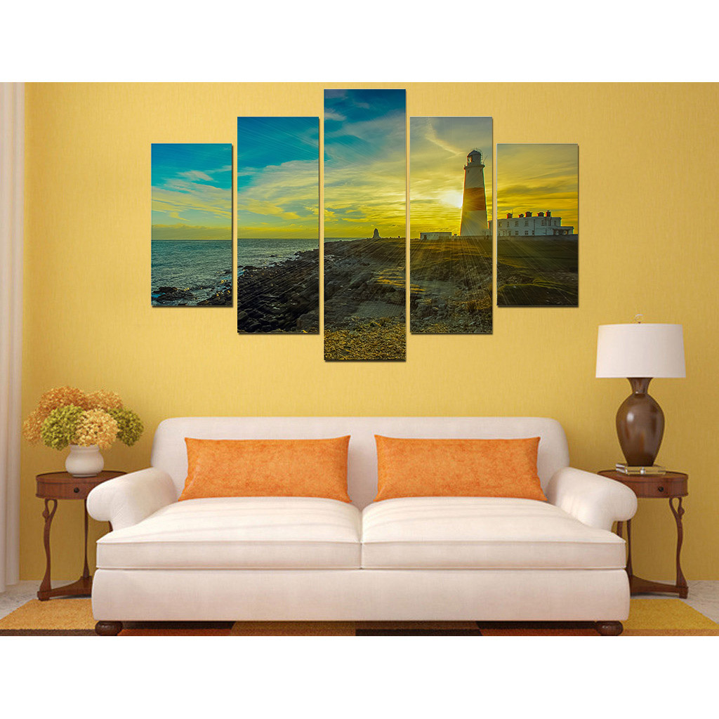 2106 New Style picture print painting Lighthouse sunset canvas wall ...