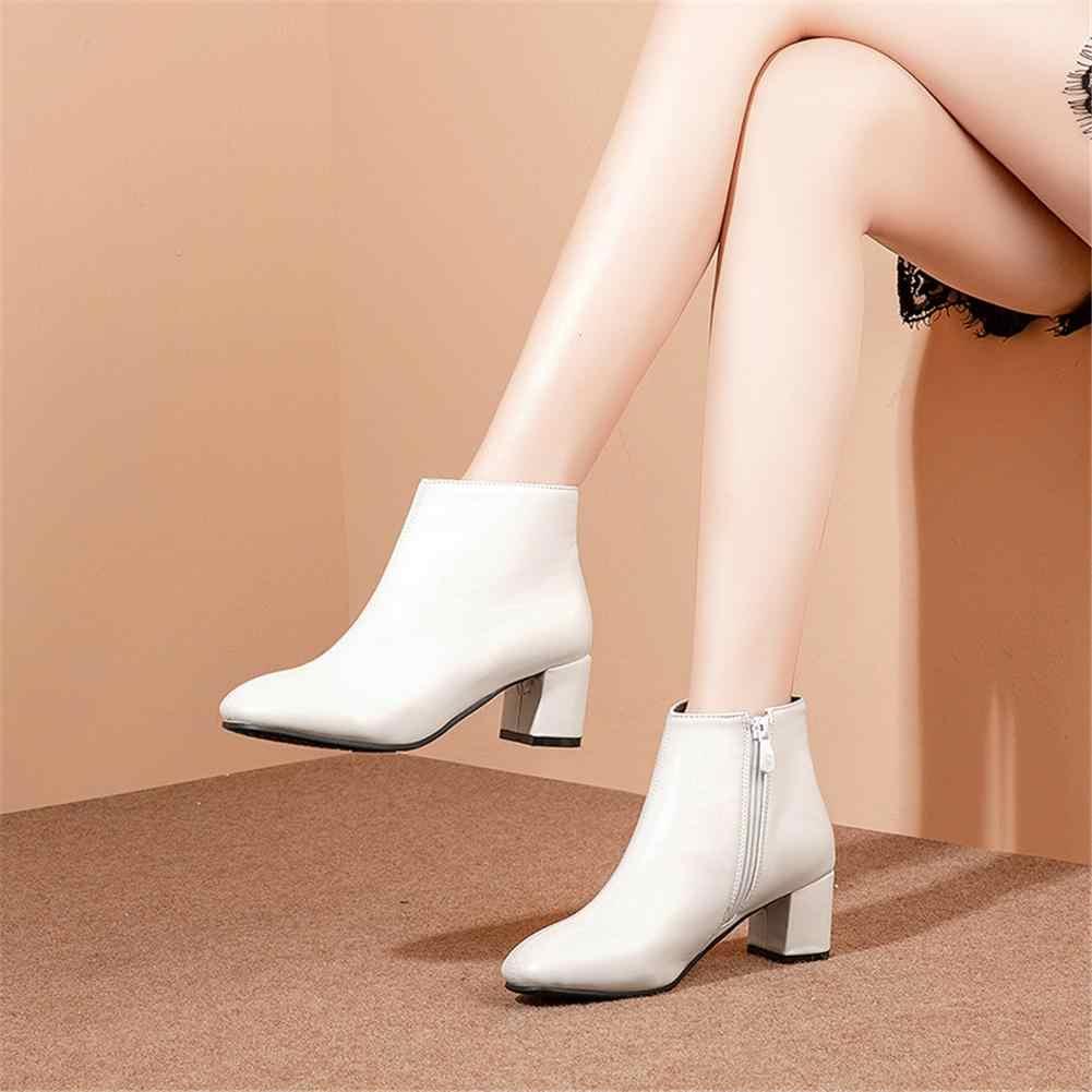 BONJOMARISA Yeni Varış Kadın yarım çizmeler Kare Ayak Yüksek Kare Topuklu Zarif siyah çizmeler kadın ayakkabısı Kadın Artı Boyutu 32-43