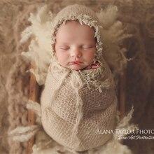 Реквизит для фотосессии новорожденных, кружевная накидка с подходящей шляпой, супер пушистое растягивающееся детское мягкое одеяло(40*80 см