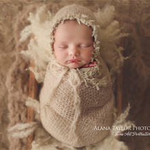 Newborn lace mohair with matching wrap bonnet set newborn photo outfit stretchable super fluffy