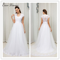 C V Fashion New Style Short Sleeves V Neck A Line Tulle Lace Wedding Dress White