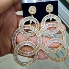 GODKI 73MM Luxus Lange Quasten Afrikanischen Baumeln Ohrringe Für Frauen Hochzeit Cubic Zirkon Kristall CZ Dubai Indische Braut Ohrringe