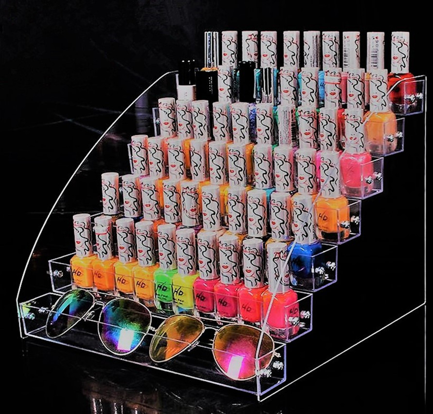 2/3/4/5/6/6/7 Tiers Jewelry Display Stand Holder Makeup Cosmetic Clear Acrylic Organizer Lipstick Nail Polish Rack