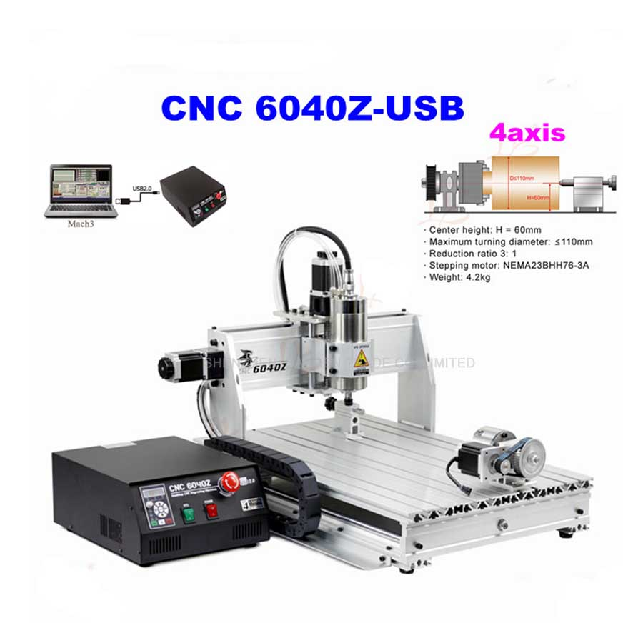 4axis CNC Router 6040Z-USB Mach3 Auto Engraving Machine With 1.5KW VFD Spindle And USB Port For Hard Metal цена