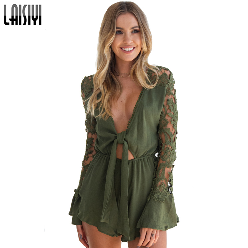 LAISIYI Long Sleeve Sexy Lace Jumpsuits for Women V-neck Playsuit Summer Short Playsuit womens rompers White Black ASJU20114