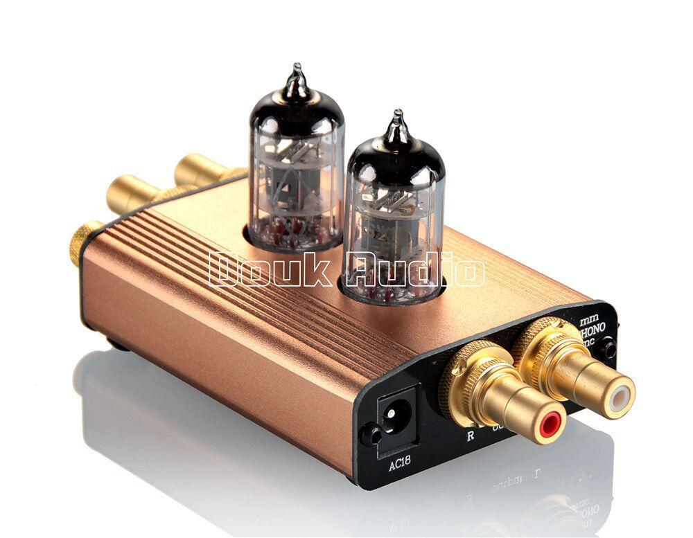2017 Lastest Douk audio High-End Mini Gold Vacuum Tube MM Phono Turntable Preamplifier HiFi Preamp Free Shipping 2017 lastest music hall hi fi 12ax7 vacuum tube preamplifier stereo high end audio preamp valve pre amp