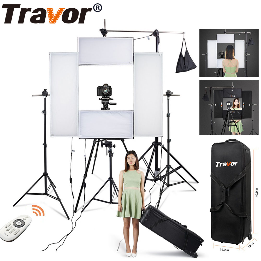 Travor 4 in 1 Flex Headshot Light Kit dimmable photography lighting Big Power 5500K CRI95 with 2.4G Wireless Remote control