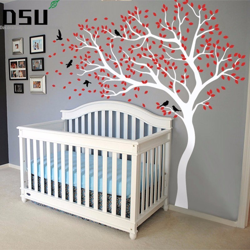 Vinyl Wall Sticker Tree Huge Size Mural Wall Stickers For Kids Room Nursery Mural Wallpaper adesivo de parede D638 Wallpaper pure green mountain art wallpaper mural on the wall for kid s room wallpaper nursery room wall decor free shipping