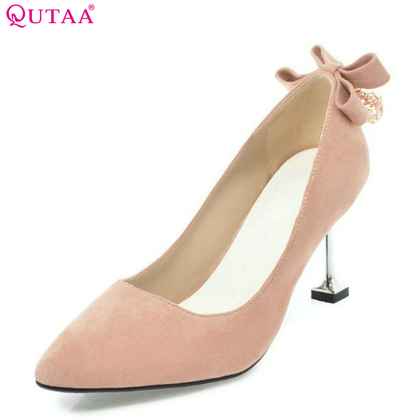 QUTAA 2018 Women Pumps Fashion Thin High Heel Pointed Toe Pu Leather All Match Spring/ Autumn Ladies Wedding Pumps Size 34-43
