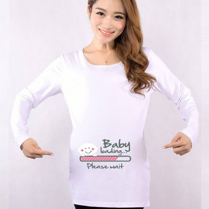 4eeb409148b HOT Funny Maternity Shirts Baby Loading T Shirt Pregnant Women Tops Tees  Clothes Premama Wear Clothing Pregnancy Clothes Autumn-in Tees from Mother    Kids ...