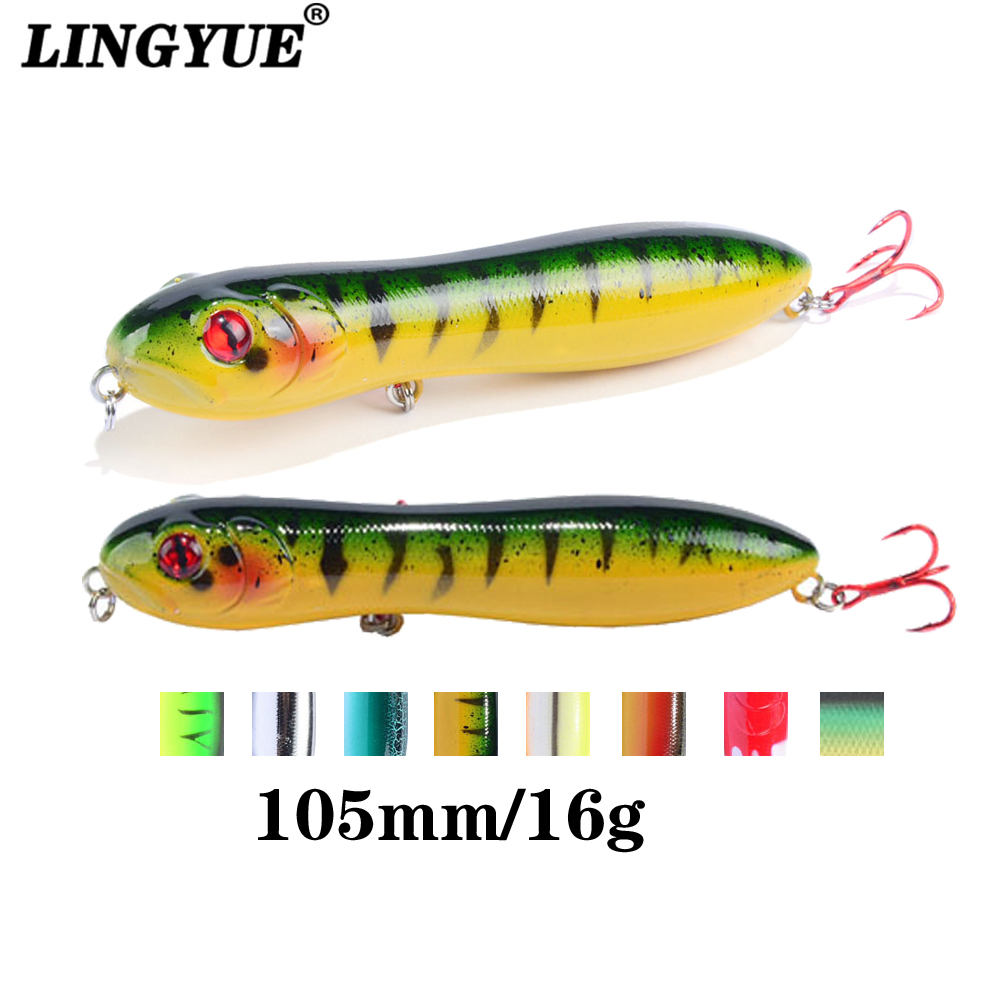 Popper Fishing Lures Top Water Pencil Baits Snake Head Wobblers Crankbaits
