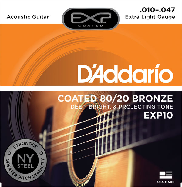 D'Addario EXP Coated 80/20 Bronze Acoustic Guitar, EXP10 EXP11 EXP13 EXP14 припой exploit exp a63 0 8mm exp a63