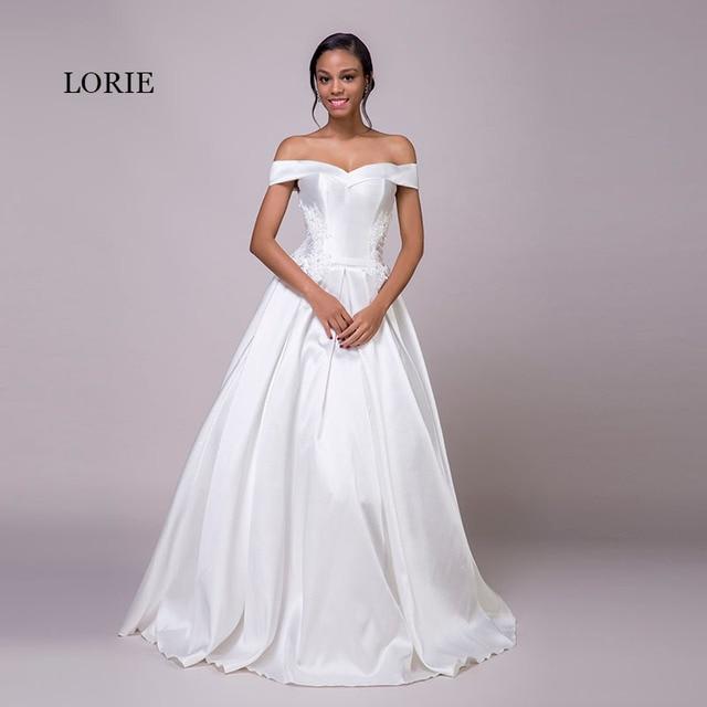 4c1775144063c17 Лори с открытыми плечами свадебное платье Аппликации атласная кружево  принцесса белый дешевые свадебные платья невесты платья