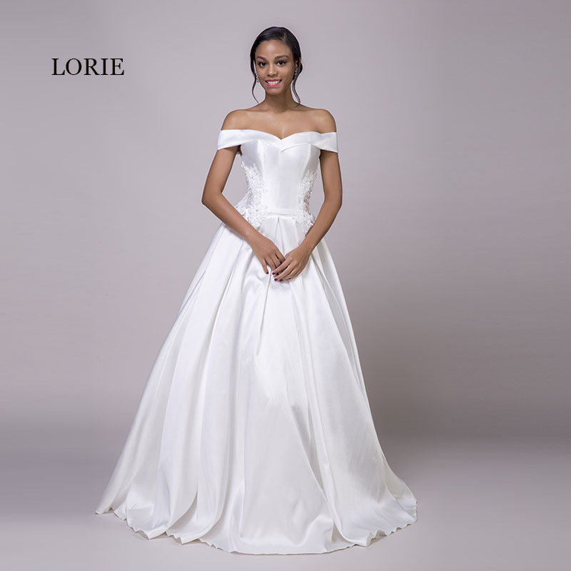 LORIE Off Shoulder Wedding Dress Appliques Satin Lace Up
