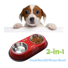 2 in 1 pet dog food bowl puppy travel feeder water dish stainless