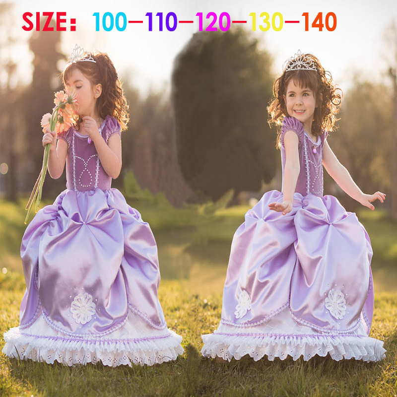 Halloween Party Costume Princess Sofia Dress Purple Children Clothing Vetement Enfant Flower Dress Girl Ropa De Ninas TZ20