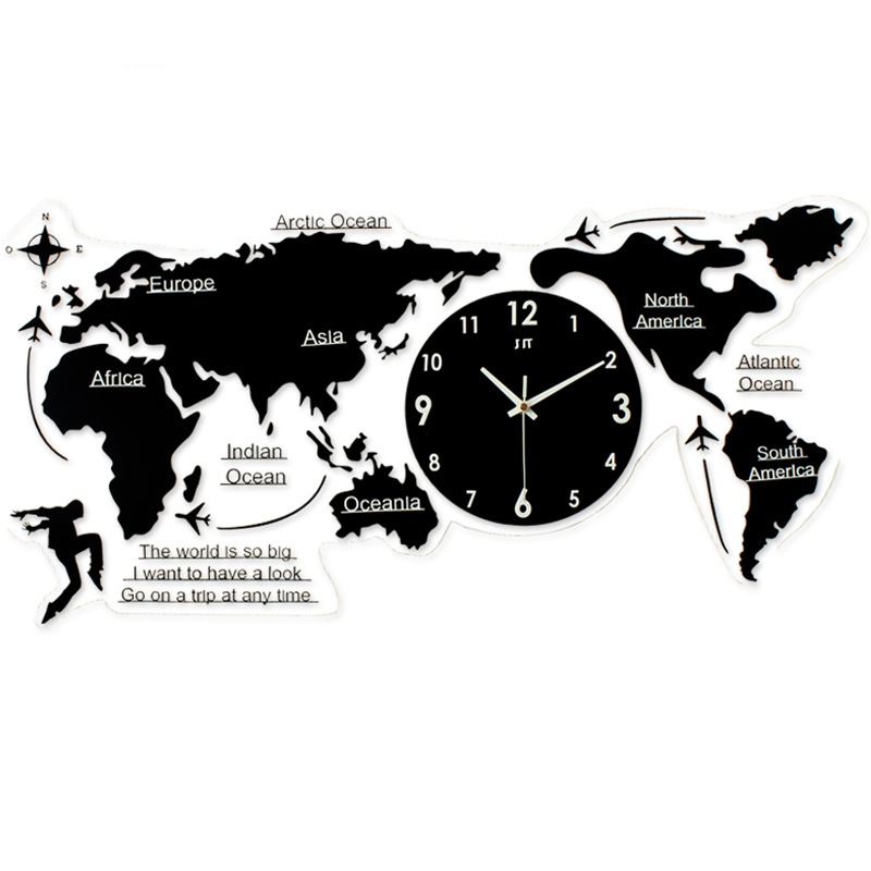 New World Map Creative Atmosphere Wall Clock Simple Acrylic Modern Nordic Quartz Clock For Living Room