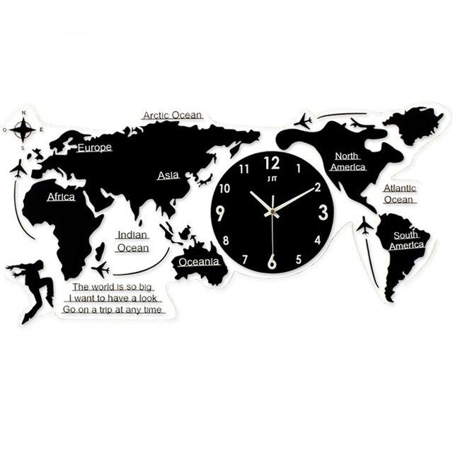 Baru Peta Dunia Kreatif Suasana Jam Dinding Sederhana Acrylic Modern Nordic Jam  Kuarsa untuk Ruang Tamu d3e1c16aa9