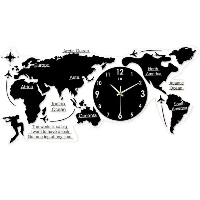 New world map creative atmosphere wall clock simple acrylic modern new world map creative atmosphere wall clock simple acrylic modern nordic quartz clock for living room gumiabroncs Choice Image