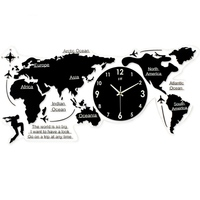 New World Map Creative Atmosphere Wall   Clock   Simple Acrylic Modern Nordic Quartz   Clock   For Living Room Bedroom Quilt Reloj