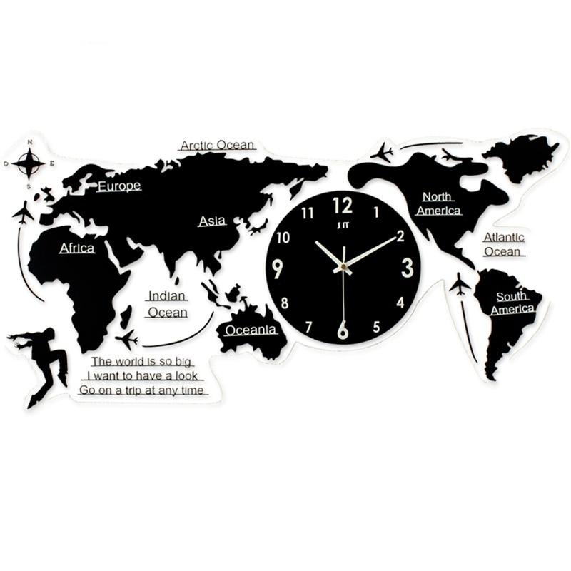 New World Map Creative Atmosphere Wall Clock Simple Acrylic Modern Nordic Quartz Clock For Living Room Bedroom Quilt Reloj