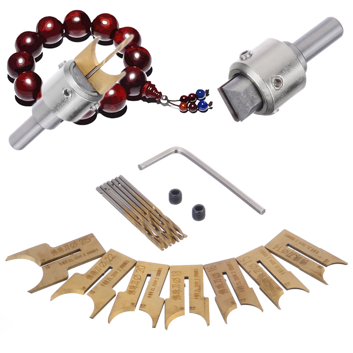 16pcs Wooden Beads Drill Bits Set 14/15/16/18/20/22/25mm Carbide Ball Blade Woodworking Milling Cutter Buddha Beads Router Bit