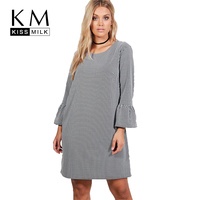 Kissmilk Plus Size Striped Straight Butterfly Sleeve Patchwork Women Dress O Neck Multi Color Dress Large